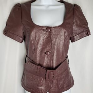 Arden B. Womans Brown Short Sleeve Leather Jacket